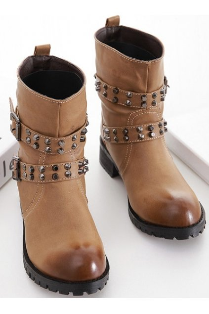 Brown Leather Punk Rock Rivets Straps Flat Thick Sole Military Women Boots Shoes