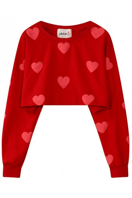 Red Heart Monogram Long Sleeves Cropped Sweater Sweatshirt