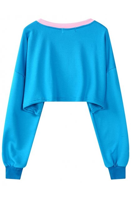 Blue Cartoon Clown  Long Sleeves Cropped Sweater Sweatshirt