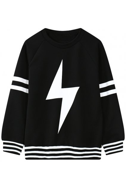 ​Black White Giant Thunder Long Sleeves Sweater Sweatshirt