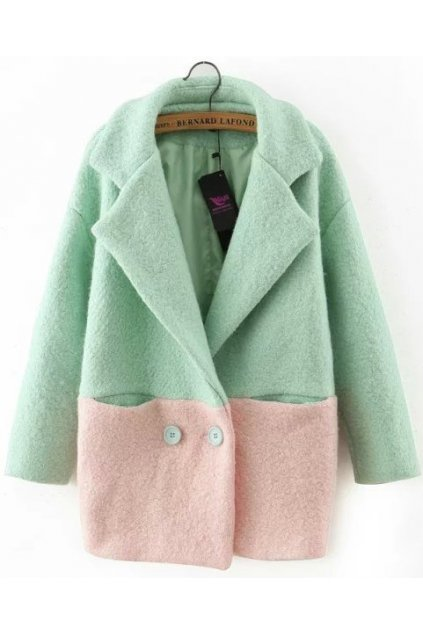 Pastel Pink Green Long Sleeves Woolen Lapel Parka Jacket Blazer Coat