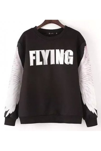 ​​Black Burgundy Fly Wing Sleeves Long Sleeves Sweater Sweatshirt