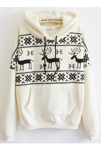 ​Reindeers Snowflakes Long Sleeves Hooded Hoodie Sweater Sweatshirt