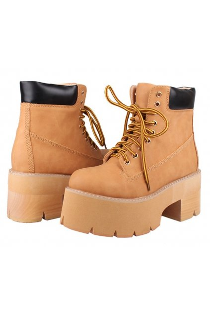 ​Brown Tan Leather Lace Up Platforms Chunky Sole Heels Ankle Women Boots Shoes