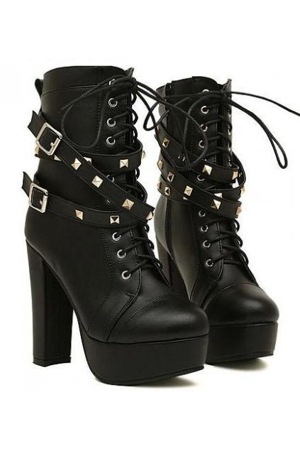 ​Black Studs Punk Rock Lace Up High Top Military Combat Platform High Heels Boots
