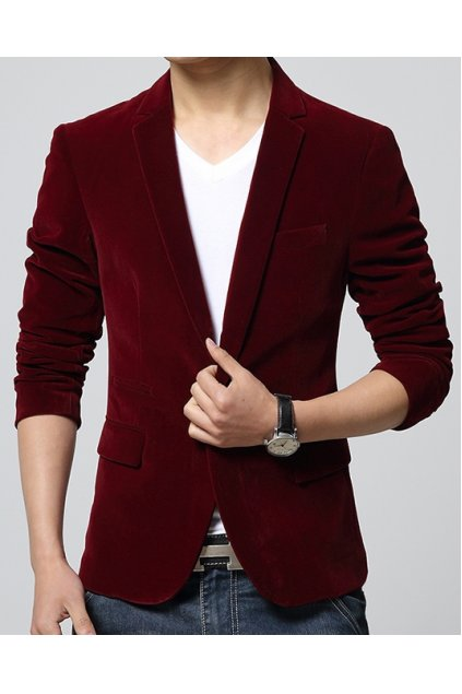 ​Burgundy Red Velvet Mens Dapper Man Long Sleeves Blazer Jacket