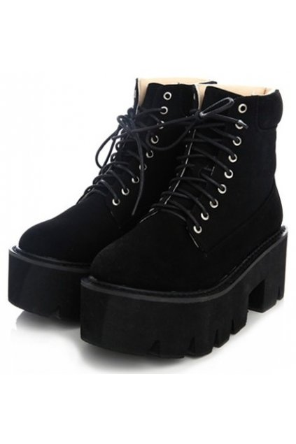 ​Black Suede Leather Lace Up Platforms Chunky Sole Heels Ankle Women Boots Shoes