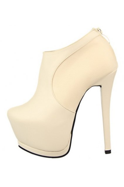 ​ Cream White Suede Leather Platform Ankle Stiletto Heels Boots Shoes