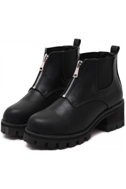 Black Leather Metal Zipper Punk Rock Military Chunky Heel Platforms Ankle Boots Shoes