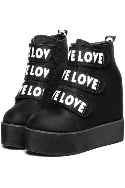 Black Leather Love Straps Platforms Ankle Chunky Sole Heels Sneakers Shoes