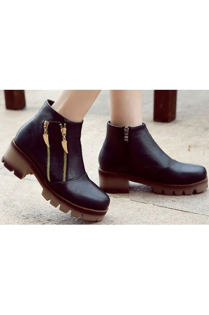 Black Leather Dual Gold Zipper Thick Sole Military Punk Rock Women Boots Shoes
