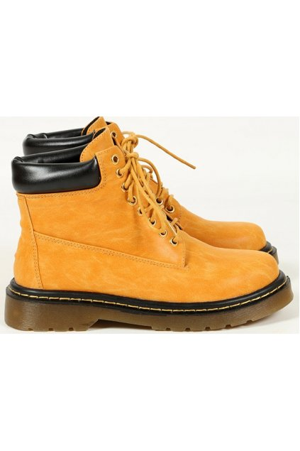 Brown Orange Leather Lace Up Military Style Ankle Women Boots Shoes