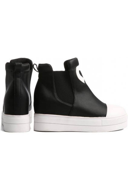 Black White Heart Platforms Hidden Wedges Punk Rock High Top Ankle Sneakers Shoes Boots