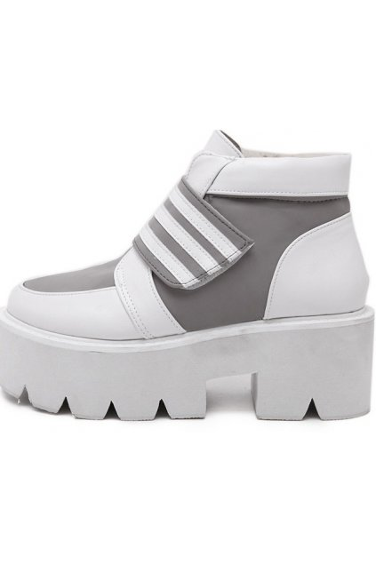 White Grey Platforms Ankle Chunky Sole Heels Sneakers Shoes