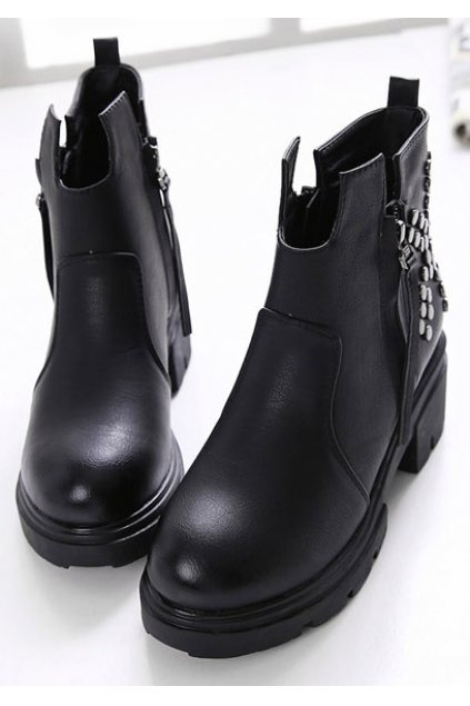 Black Leather Rivets Side Zipper Punk Funky Hidden Wedges Ankle Women Shoes Boots