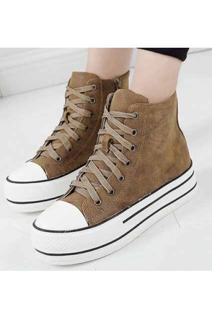 Brown Lace Up Sneakers Platforms Thick Sole Ankle Women Shoes Boots