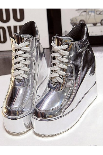 Silver Patent Leather White Platforms Punk Rock Hidden Wedges Lace Up Ankle Sneakers Boots