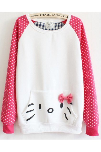 ​Pink White Polka dots Cute Kitty Cat Long Sleeves Sweater Sweatshirt
