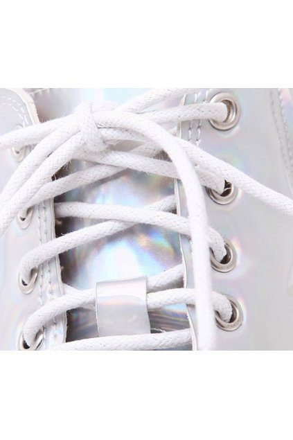 Silver Laser Color Lace Up White Platforms Sole Ankle High Top Chunky Heels Boots
