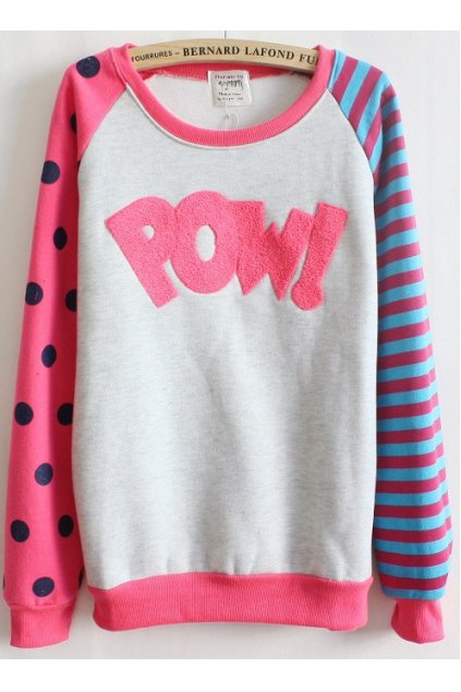 Pink White Polkadots Polka Dots Stripes POW Long Sleeves Sweater Sweatshirt