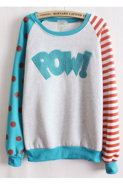 ​Blue White Polkadots Polka Dots Stripes POW Long Sleeves Sweater Sweatshirt