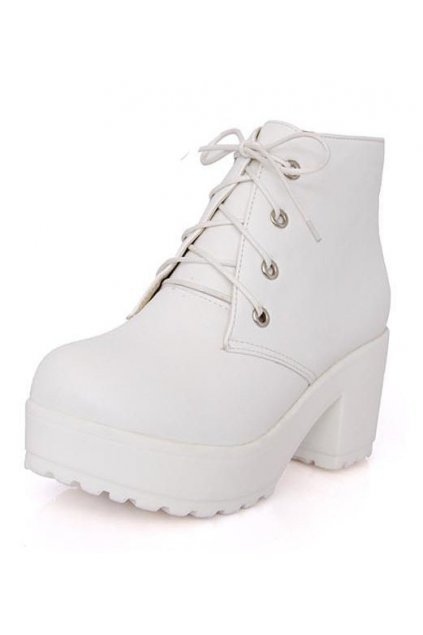 White Lace Up Platforms Chunky Sole Heels Ankle Military Women Boots Shoes
