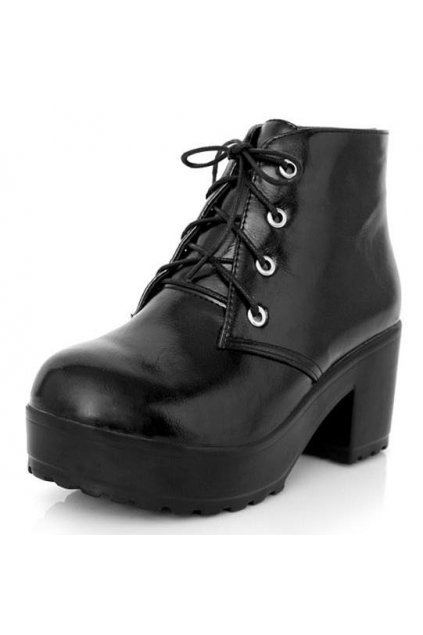 ​Black Lace Up Platforms Chunky Sole Heels Ankle Military Women Boots Shoes