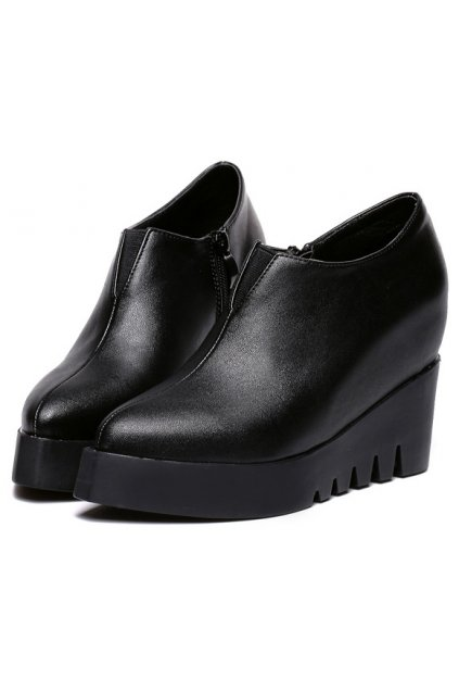 ​Black Point Head Punk Rock Ankle Platforms Wedges Military Women Boots Shoes