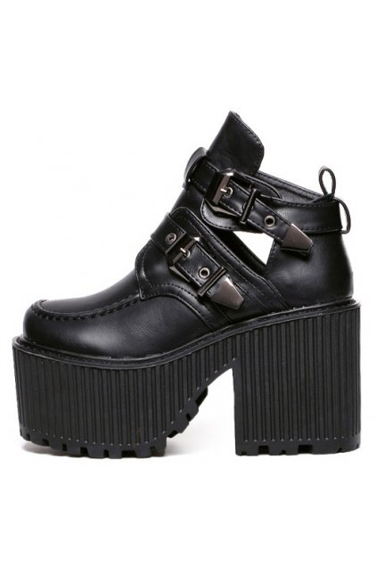 Punk Rock Black Gothic Metal Buckles Thick Sole Platforms Chunky Heels Women Shoes