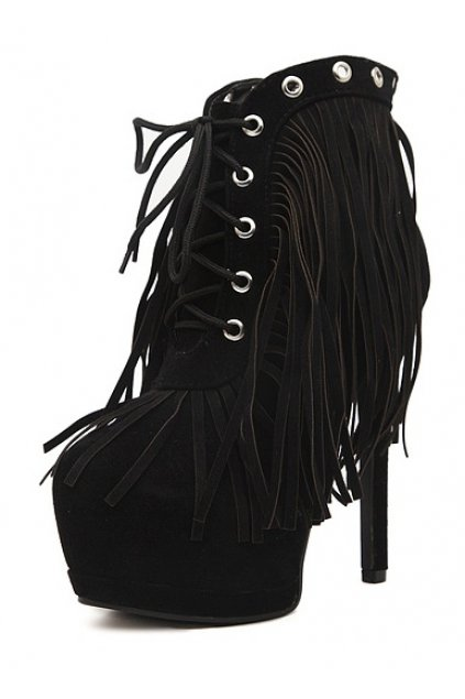 ​Suede Long Fringes Black Lace Up Platforms Ankle Stiletto Heels Boots Shoes