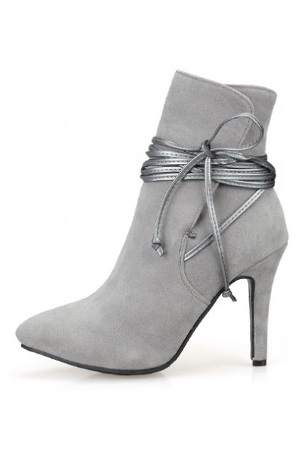 Grey Ankle Straps Warp Suede Point Head Stiletto Heels Boots Shoes