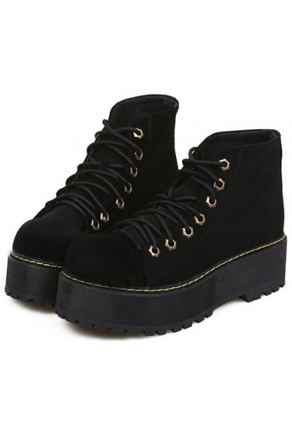​Black Velvet Lace Up Platforms Yellow Stitch Punk Rock Ankle Women Boots Shoes