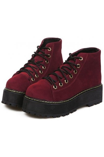 ​Burgundy Velvet Lace Up Platforms Yellow Stitch Punk Rock Ankle Women Boots Shoes