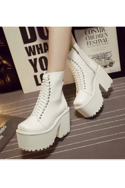 ​Black White Platforms Lace Up High Top Chunky Heels Gothic Punk Rock Boots Shoes