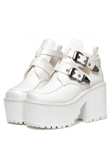 Punk Rock White Metal Buckles Thick Sole Platforms Chunky Heels Women Shoes