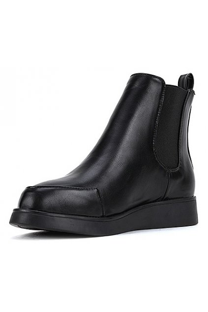 ​​Black Leather Point Head Punk Rock Ankle Women Boots Shoes