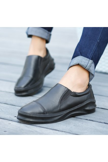 Black White Thick Sole Mens Casual Loafers Sneakers Shoes