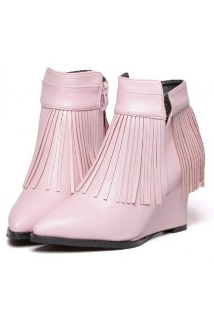 Pink Fringes Punk Rock Ankle Wedges Ankle Boots Shoes