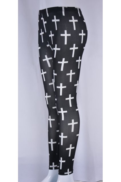 ​Black White Cross Monogram Punk Rock Gothic Skinny Long Yoga Pants Tights Leggings