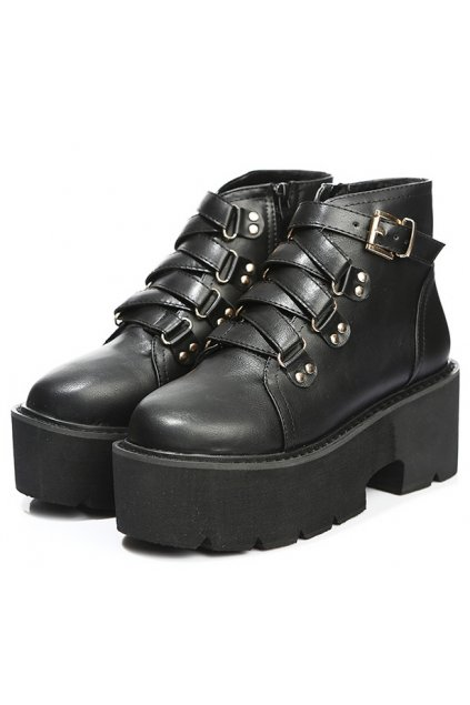 Black Leather High Top Punk Rock Gothic Chunky Platforms Creepers Boots Shoes