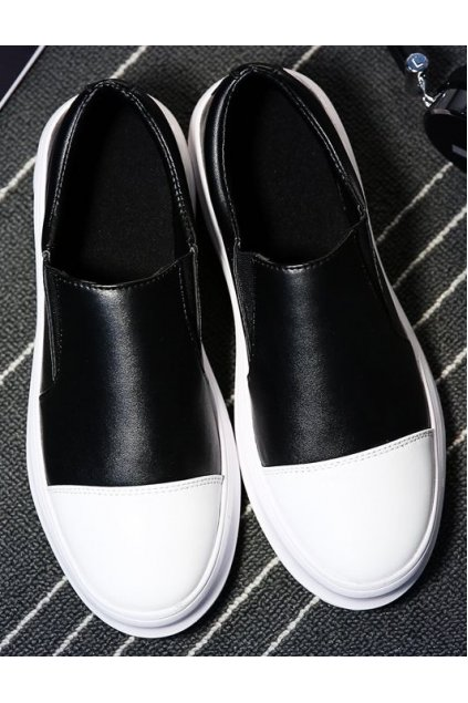 ​Black White Thick Sole Mens Casual Loafers Sneakers Shoes