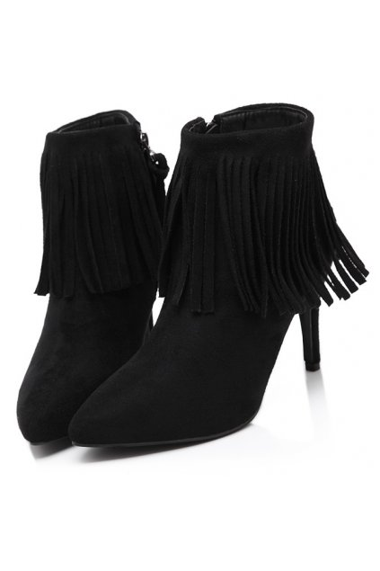 ​Black Ankle Fringes Suede Point Head Stiletto Heels Boots Shoes