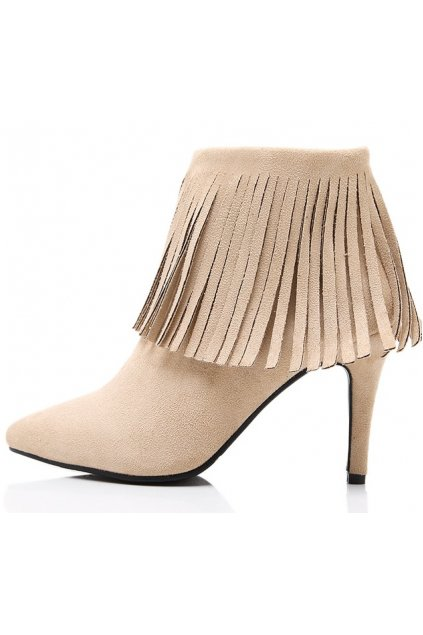 ​Beige Khaki Ankle Fringes Suede Point Head Stiletto Heels Boots Shoes