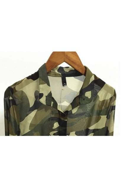 ​Green Camouflage Military Army Long Sleeves Chiffon Cardigan Outer Shirt Blouse