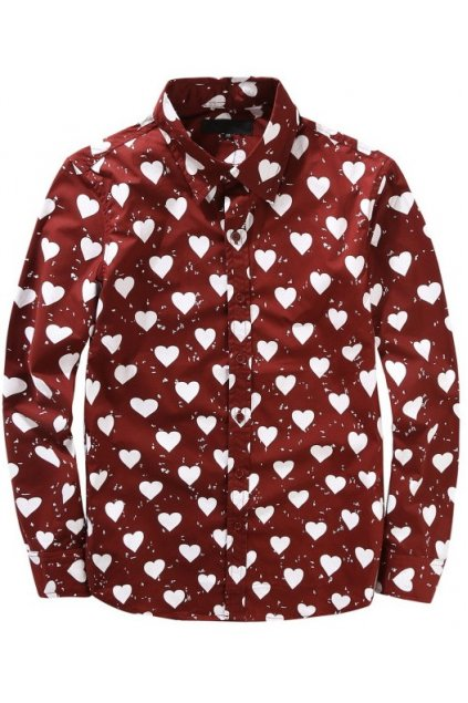 Blue Burgundy Heart Monogram Mens Long Sleeves Shirt