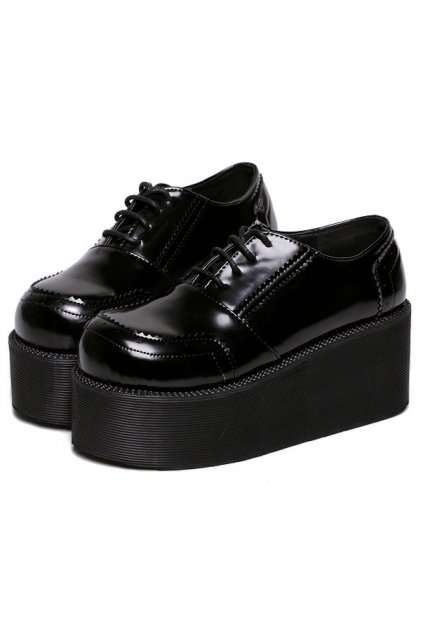 Black Leather Lace Up Baroque Punk Rock Gothic Chunky Platforms Creepers Oxfords Shoes