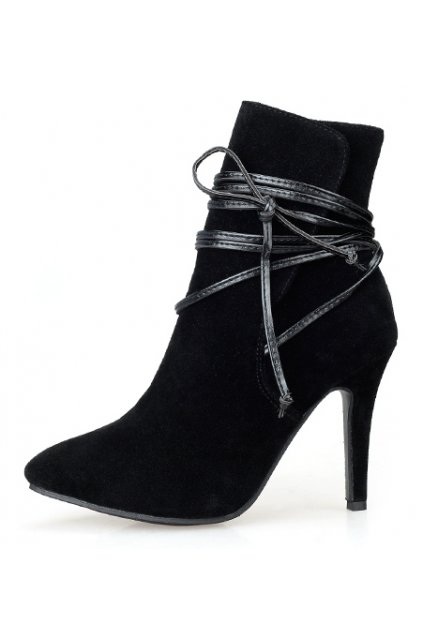 Black Ankle Straps Warp Suede Point Head Stiletto Heels Boots Shoes