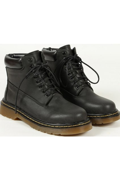 Black Leather Lace Up Military Style Ankle Women Boots Shoes