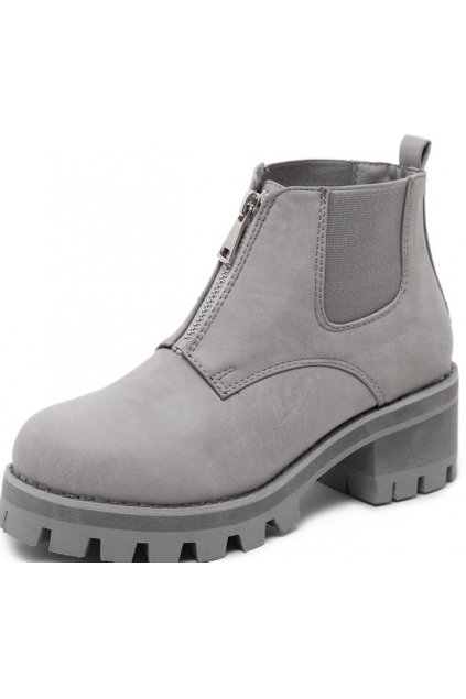 Grey Leather Metal Zipper Punk Rock Military Chunky Heel Platforms Ankle Boots Shoes