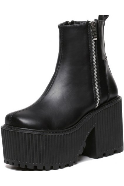 Black Leather Zipper Up Gothic Punk Rock Thick Chunky Sole Heels Platforms Boots Shoes